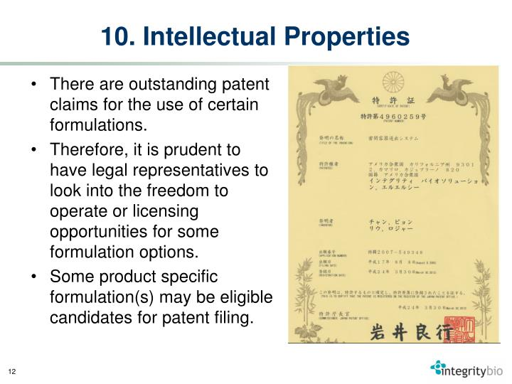 10. Intellectual Properties