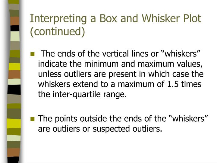 Interpreting a Box and Whisker Plot (continued)