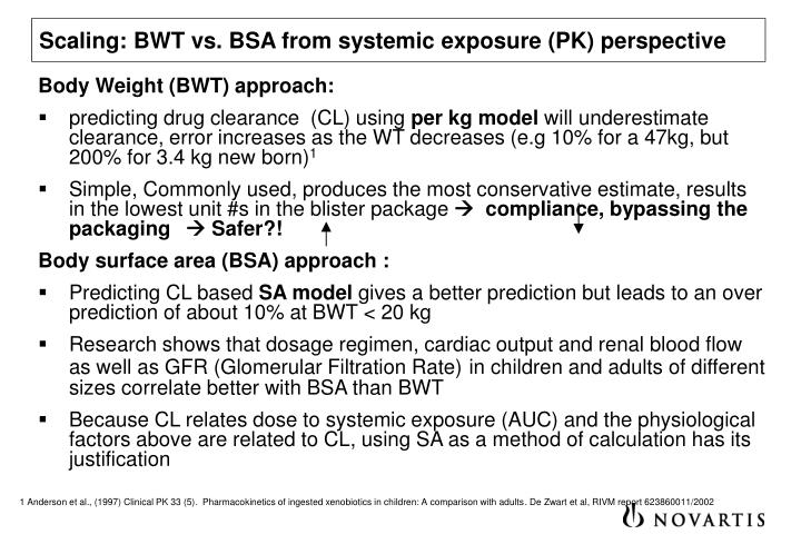 Scaling: BWT vs. BSA from systemic exposure (PK) perspective
