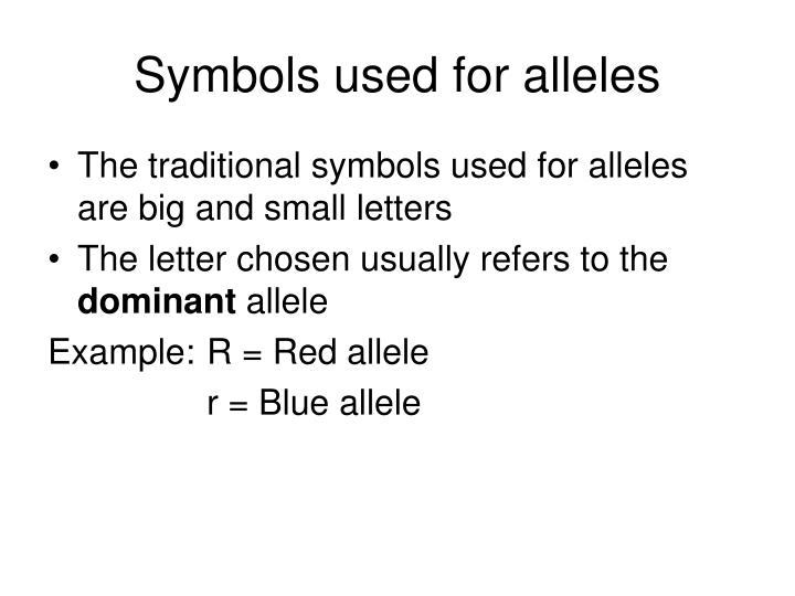 Symbols used for alleles