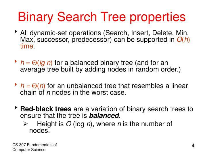 Binary Search Tree properties