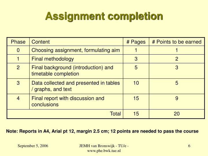 Assignment completion
