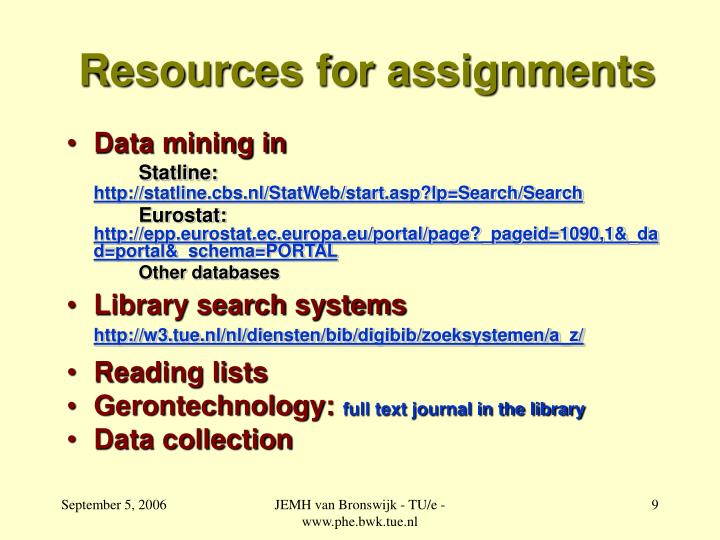 Resources for assignments