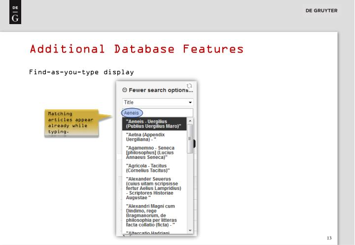 Additional Database Features