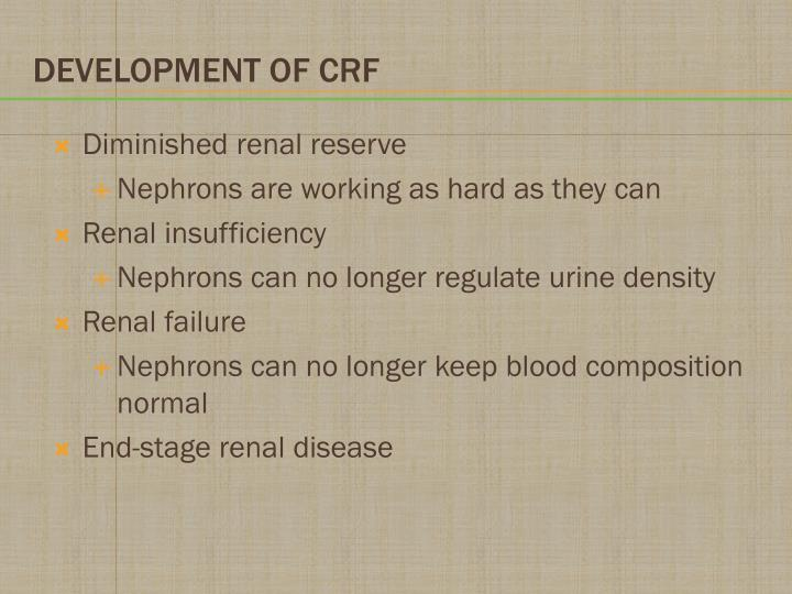 Diminished renal reserve