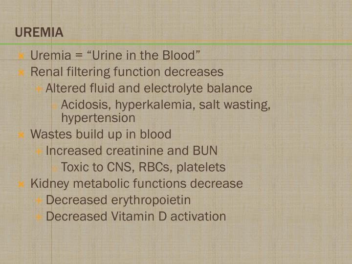 "Uremia = ""Urine in the Blood"""