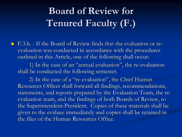 Board of Review for