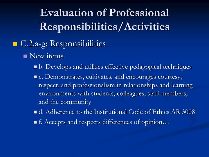 Evaluation of Professional Responsibilities/Activities
