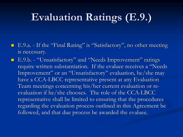 Evaluation Ratings (E.9.)