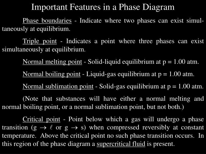 Important Features in a Phase Diagram