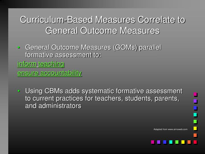 Curriculum-Based Measures Correlate to General Outcome Measures