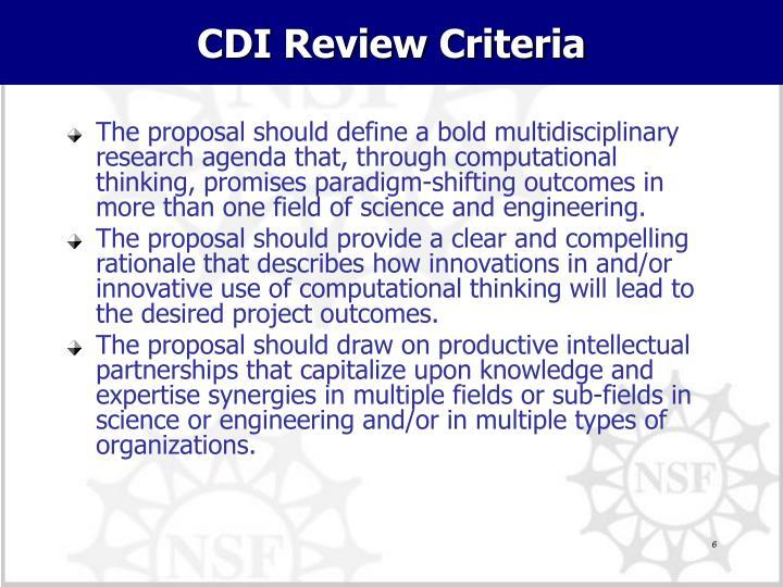 CDI Review Criteria