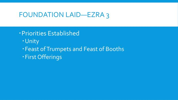 Foundation Laid—Ezra 3