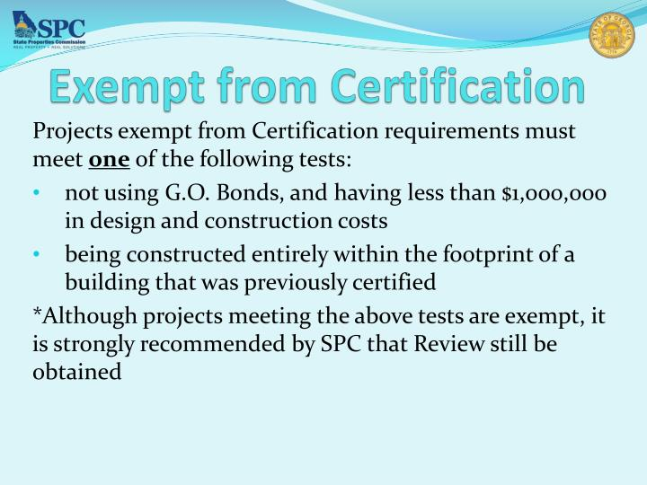 Exempt from Certification