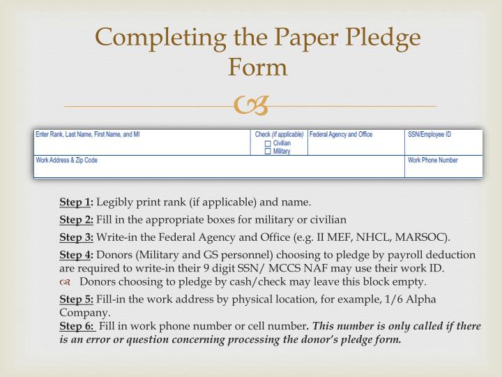 Completing the Paper Pledge Form