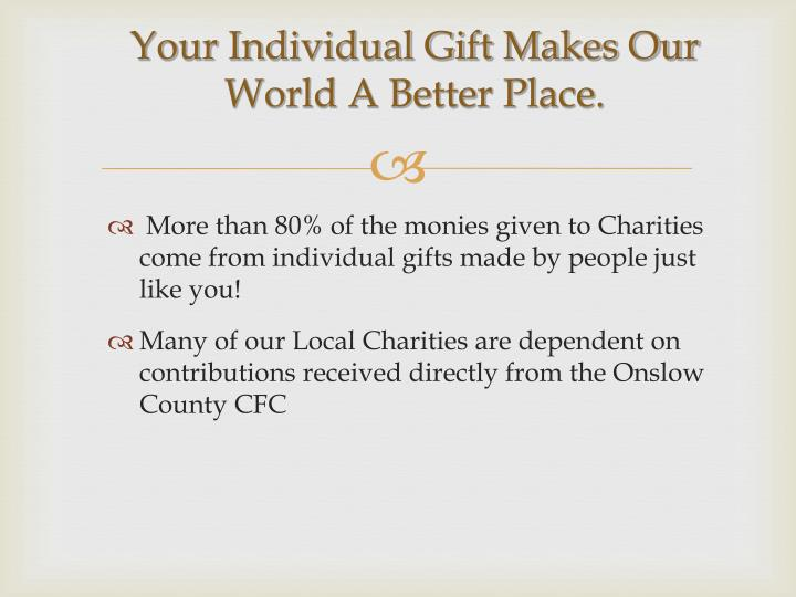 Your Individual Gift Makes Our World A Better Place.