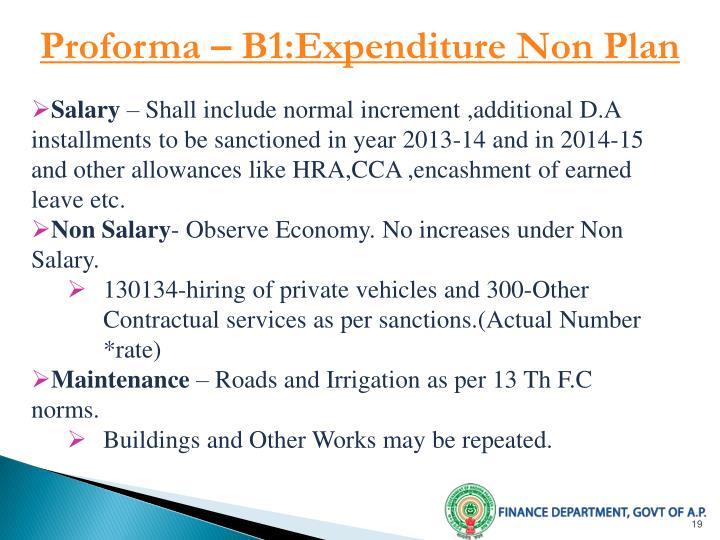 Proforma – B1:Expenditure Non Plan
