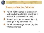 reasons not to criticize1