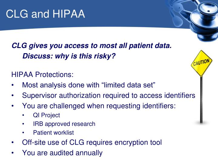 CLG and HIPAA