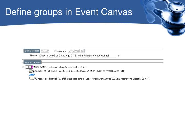 Define groups in Event Canvas