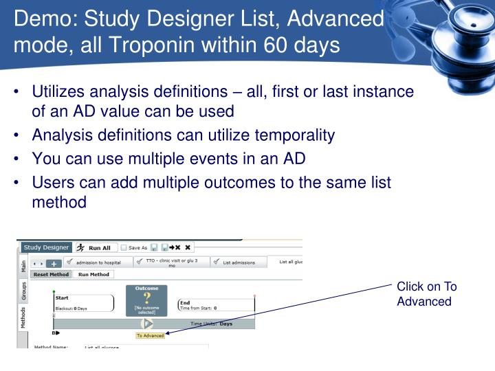 Demo: Study Designer List, Advanced mode, all Troponin within 60 days