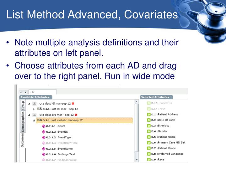 List Method Advanced, Covariates