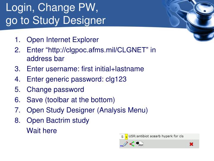 Login, Change PW,