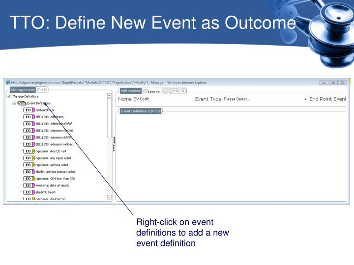 TTO: Define New Event as Outcome