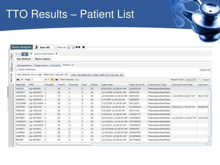 TTO Results – Patient List