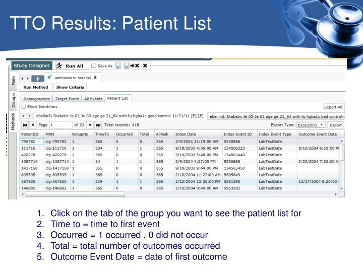 TTO Results: Patient List