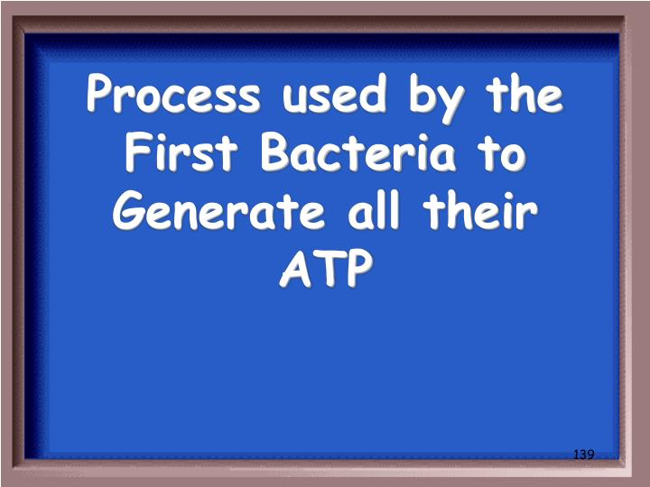 Process used by the First Bacteria to Generate all their ATP