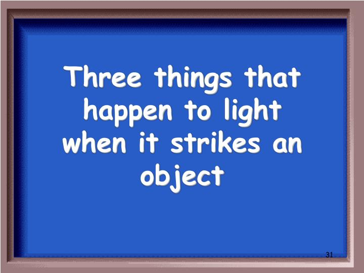 Three things that happen to light when it strikes an object