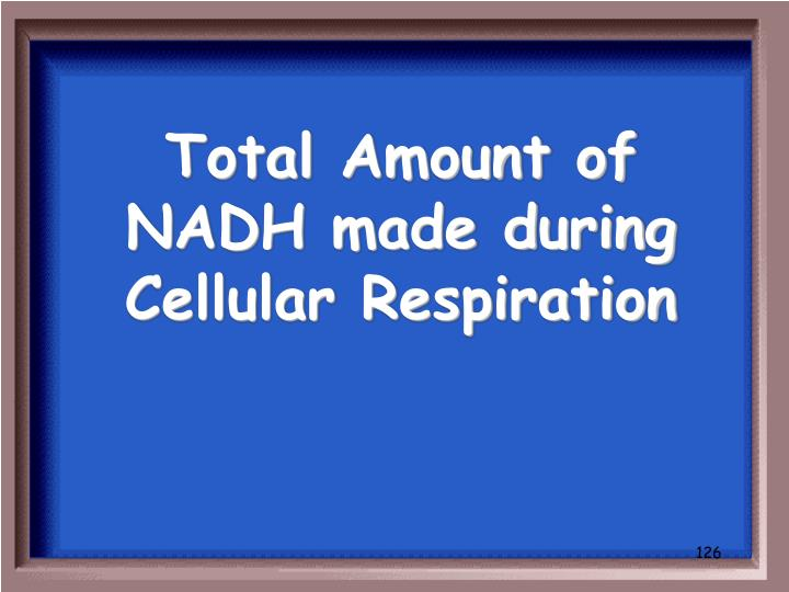 Total Amount of NADH made during Cellular Respiration