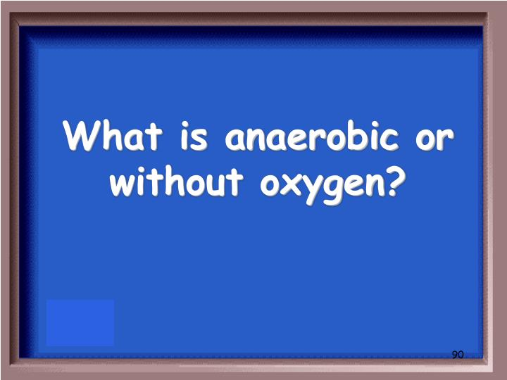 What is anaerobic or without oxygen?