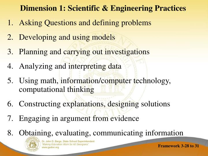 Dimension 1: Scientific & Engineering Practices