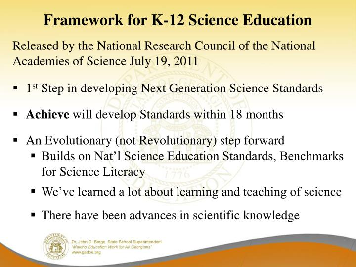 Framework for K-12 Science Education