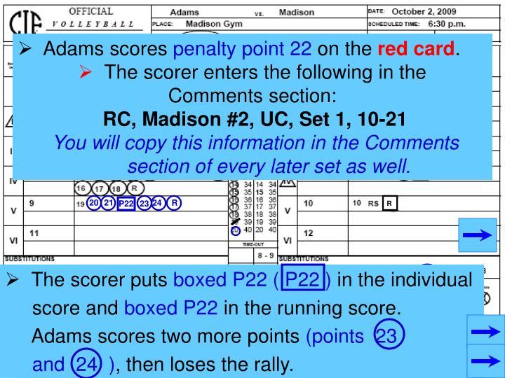 Adams scores