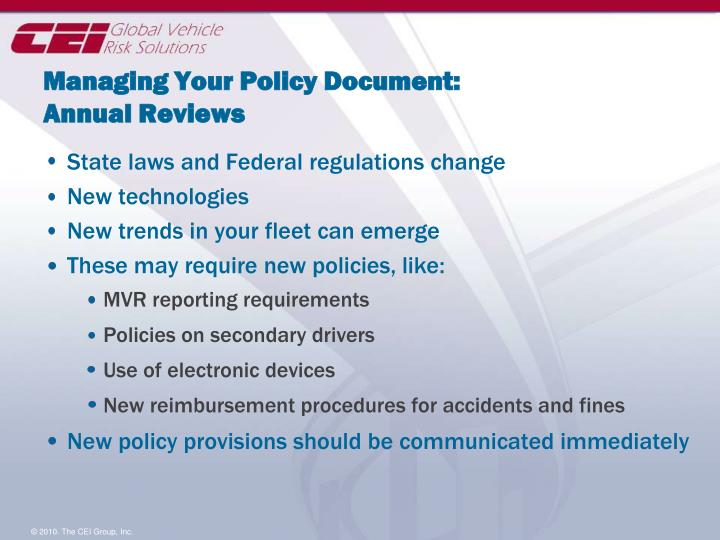 Managing Your Policy Document: