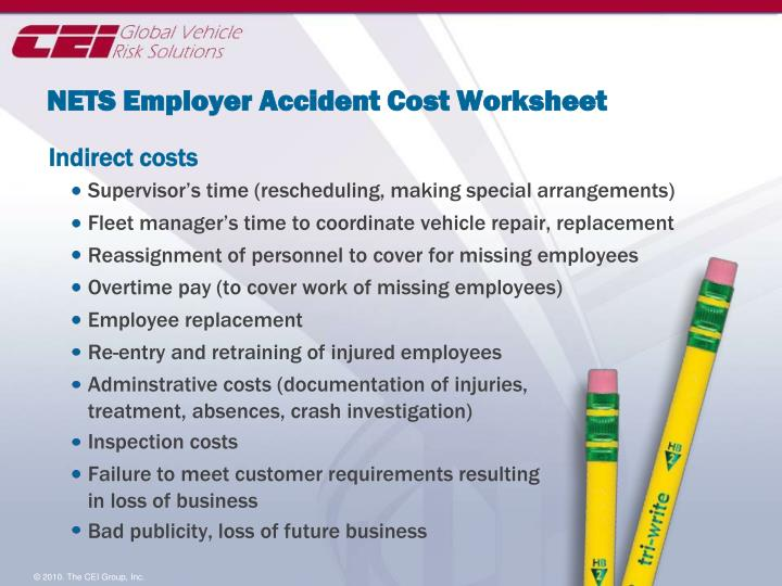 NETS Employer Accident Cost Worksheet