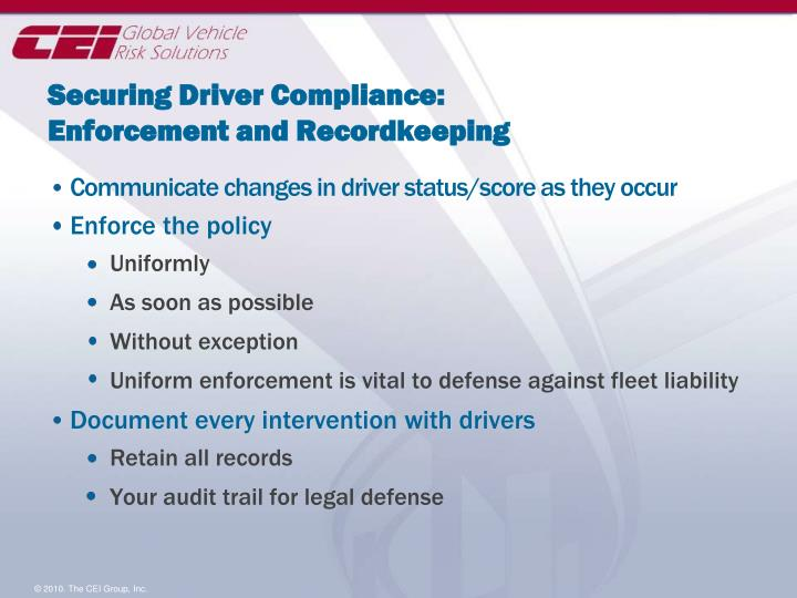 Securing Driver Compliance: