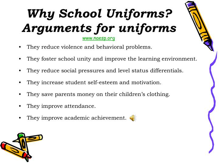 arguments for school uniforms essay There are many opponents and proponents of an obligatory enabling of school uniforms, both coming up with reasonable arguments in a persuasive essay is a form of.