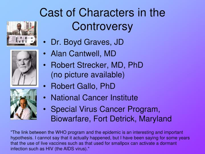 Cast of Characters in the Controversy