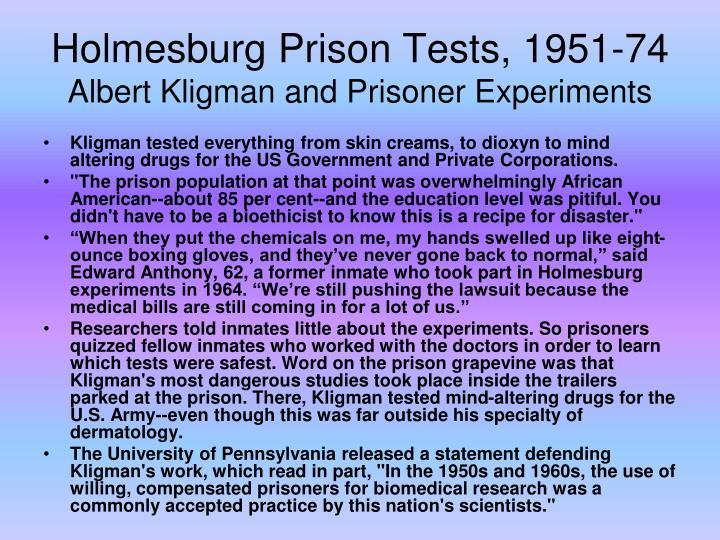 Holmesburg Prison Tests, 1951-74