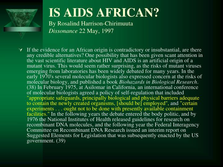 IS AIDS AFRICAN?
