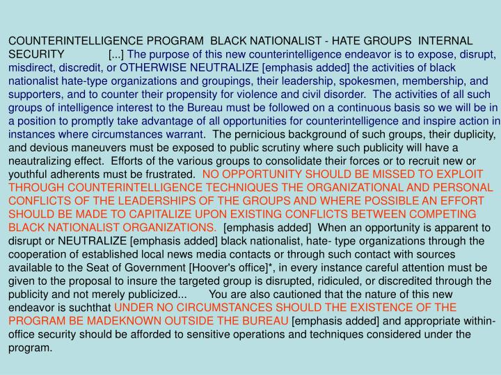 COUNTERINTELLIGENCE PROGRAM  BLACK NATIONALIST - HATE GROUPS  INTERNAL SECURITY	[...]