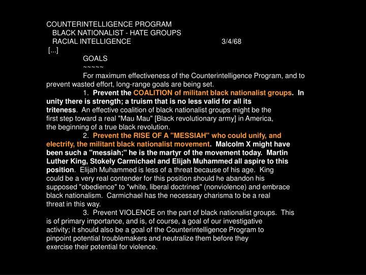 COUNTERINTELLIGENCE PROGRAM