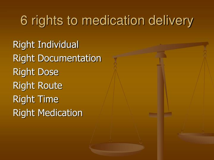 6 rights to medication delivery