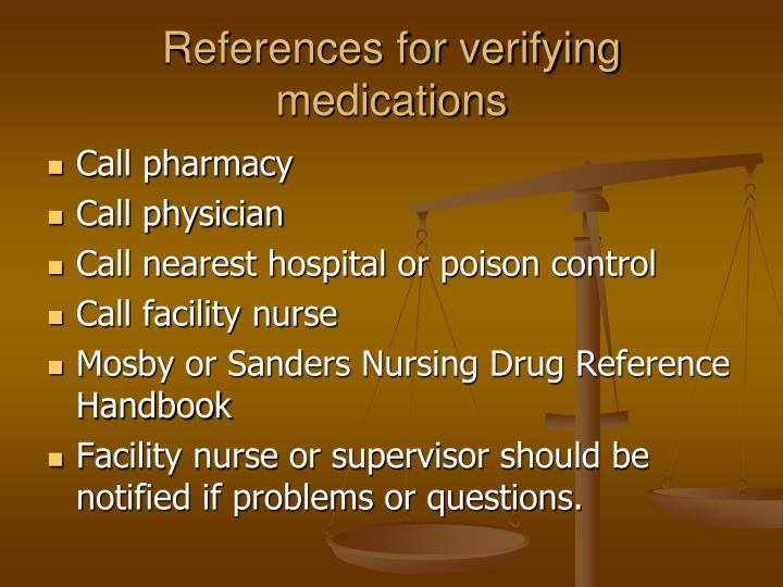 References for verifying medications