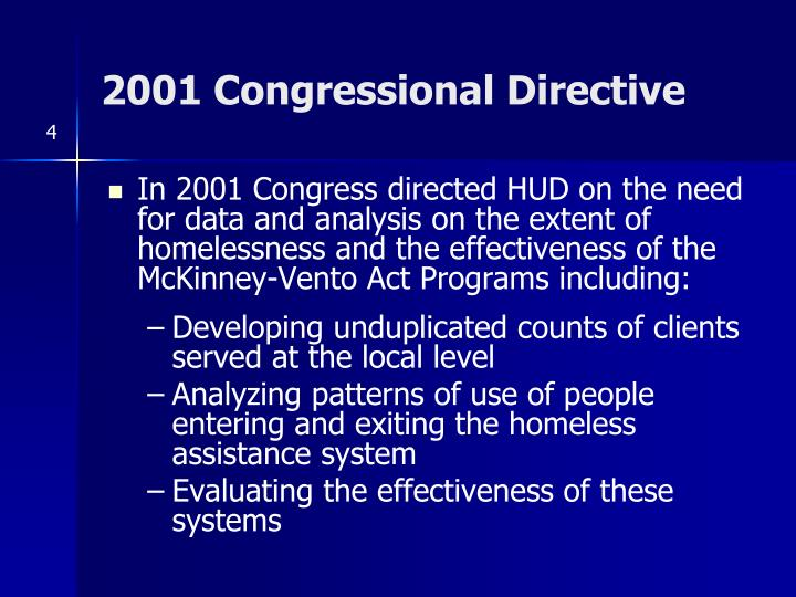 2001 Congressional Directive