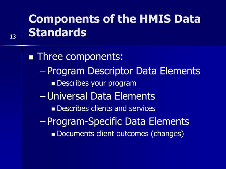 Components of the HMIS Data Standards